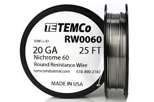 Temco Nichrome 60 Series Wire 20 Gauge 25 Ft Resistance Awg Ga