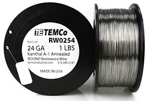 Temco Kanthal A1 Wire 24 Gauge 1 Lb 1018 Ft Resistance Awg A 1 Ga