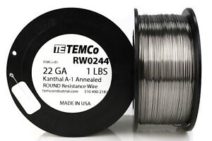 Temco Kanthal A1 Wire 22 Gauge 1 Lb 641 Ft Resistance Awg A 1 Ga
