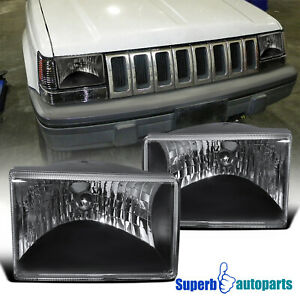 For 1993 1998 Jeep Grand Cherokee Headlights Lamp Black