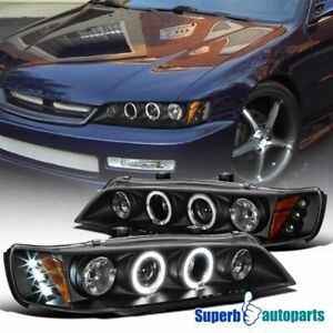 Led Halo Projector Headlights Lamps For 1994 1997 Honda Accord Replacement Pair