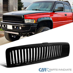 For 94 01 Dodge Ram 1500 2500 Glossy Black Abs Vertical Front Bumper Hood Grille