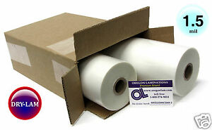 Drylam Standard Hot Laminating Roll Film 12 inch X 500 X 1 Core 1 5 Mil pk 2