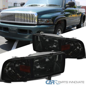 94 01 Dodge Ram 1500 2500 3500 Pickup Chrome Smoke Headlights corner Lamps Pair