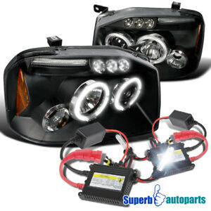 For 2001 2004 Frontier Halo Led Projector Headlights Black H1 Slim Hid Kit