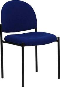 Lot Of 30 Navy Fabric Comfortable Stackable Steel Side Chair