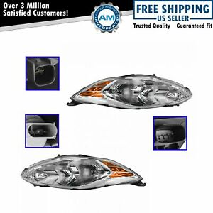 Headlight Headlamp Driver Passenger Side Pair Set Of 2 For 11 13 Ford Fiesta