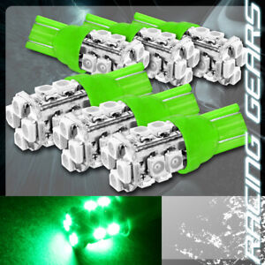 6x Green Smd 12 Led 12v T10 Wedge Light Bulb Interior Instrument Panel Gauge