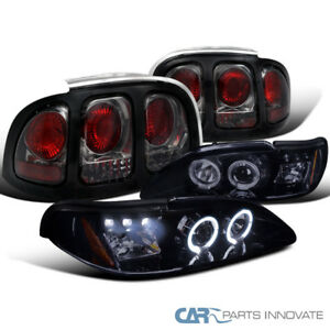 94 98 Mustang Gt Glossy Black Led Halo Projector Headlights smoke Tail Lamps