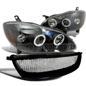 For 2003 2008 Toyota Corolla Halo Led Projector Headlights abs Mesh Grille Black