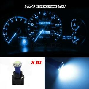 10 T5 Pc74 Twist Socket Instrument Panel Cluster Ice Blue Dash Led Light Bulb
