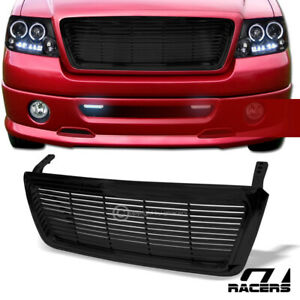 For 2004 2008 Ford F150 Horizontal Billet Style Glossy Black Front Bumper Grille