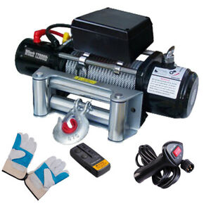 12000lb 12v 6 6 Electric Recovery Winch Wireless Remote Trailer For Truck Suv