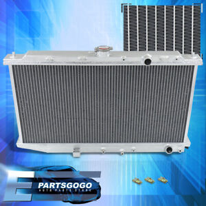 For 88 91 Civic Crx Ef 1 5l M t Dual Sized Aluminum Race 2 row Cooling Radiator