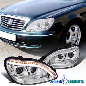 1998 2006 Mercedes Benz W220 S class Projector Led Signal Headlights Clear