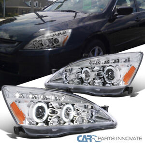 For 03 07 Honda Accord 2 4dr Led Dual Halo Projector Headlights Lamps Left right