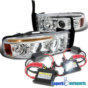 1994 2001 Dodge Ram Halo Led Projector Headlights Chrome H1 Slim Hid Kit