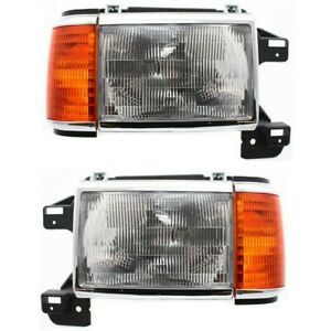 Headlight Set For 87 91 Ford F 150 88 91 F Super Duty Left Right W side Marker
