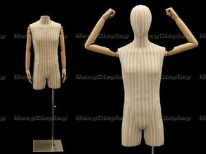 Linen Male Body Hard Foam Dress Form With Arms And Head jf m2slarm bs 05