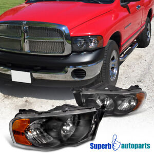2002 2005 Dodge Ram 1500 2500 Euro Headlight Head Lamps Black Pair Replacement