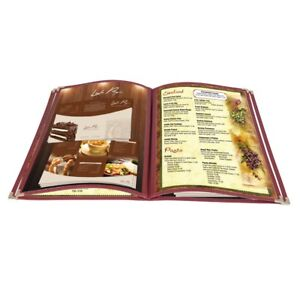20pc 8 5x14 Menu Cover 4 Page 8 View Reinforce Corner Stitch Restaurant Cafe