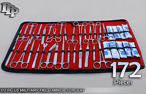 172 Pc Us Military Field Minor Surgery Veterinary Dental Instrument Kit Ds 1103