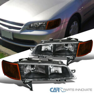 Fit 94 97 Honda Accord Replacement Black Headlights Amber Corner Parking Lamps