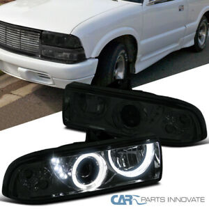 98 04 Chevy S10 Blazer Pickup Smoke Lens Smd Led Halo Projector Headlights Pair