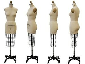 Collapsible Shoulder Female Pro Working Dress Form Half Size 8 Whip arm