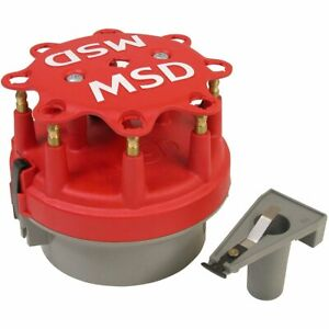 Msd 8414 Cap And Rotor Red Male Hei Brass Terminals Clamp Down Ford V8 Kit