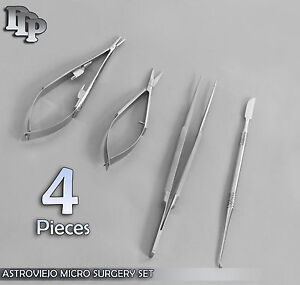 4 Pieces Castroviejo Micro Surgery Scissors needle Holder Suture Tying Forceps