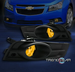 2009 2014 Chevy Cruze Bumper Yellow Fog Lights Lamp black Cover switch 2010 2011