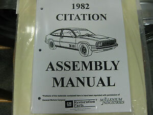 1982 82 Chevy Citation all Models Assembly Manual
