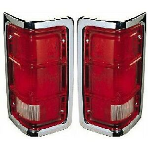Set Of 2 Tail Light For 88 93 Dodge D250 Lh Rh Clear Red Lens