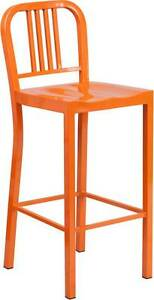 30 Orange Indoor outdoor Restaurant Dining Bar Stool