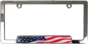 Usa American Flag Chrome Metal License Plate Frame Car Truck Tag Cover Holder Us
