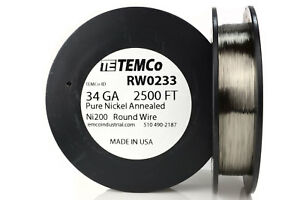 Temco Pure Nickel Wire 34 Gauge 2500 Ft Non Resistance Awg Ni200 Nickel 200 ga