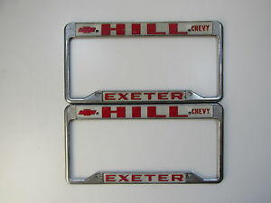Set Pair Exeter Hill Chevrolet Dealership Metal License Plate Frame Embossed Ca