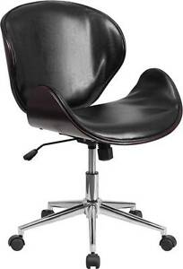 Mid back Mahogany Wood Swivel Conference Chair In Black Leather