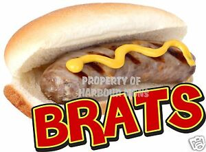 Brats Decal 14 Sausage Hot Dog Concession Cart Restaurant Food Truck Sticker
