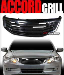 For 2011 2012 Honda Accord Sedan Black Mu Front Bumper Grill Grille Guard Abs