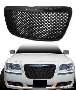 For 2011 2014 Chrysler 300 300c Black Luxury Mesh Front Bumper Grill Grille Abs