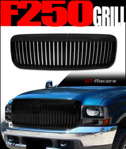 For 1999 2004 Ford F250 Excursion Black Vertical Front Bumper Grill Grille Abs