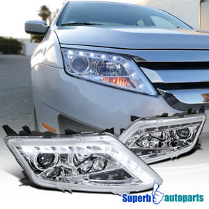 2010 2012 Ford Fusion Led Clear Projector Headlights Chrome Specd Tuning