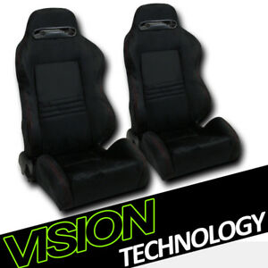 T R Style Blk Suede Red Stitch Reclinable Racing Bucket Seats W Sliders L R V26