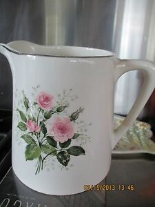 Vintage Victorian Pitcher With Pink Roses
