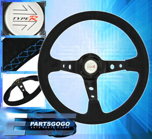 350mm Jdm Steering Wheel Suede Leather Blue Stitching Jeep Wrangler Cherokee New