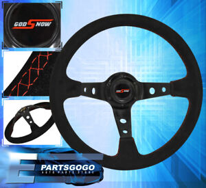 Universal 350mm Jdm Steering Wheel Suede Leather Red Stitched Drift Grip Handle