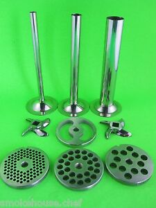 22 9 Pc Combo Set Meat Grinder Sausage Stuffer Plate Knife Tubes Lem Hobart Etc