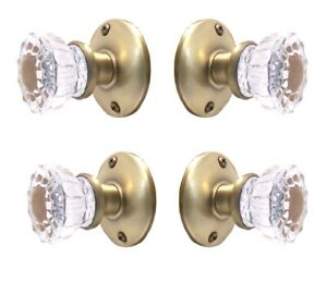 Lot Of Two 2 Affordable Fluted Crystal Glass Passage Knob Set For Modern Doors